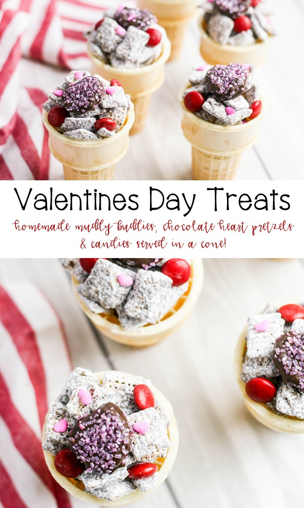 Easy Valentines Day Treats - snack mix with muddy buddies, chocolate heart pretzels and candies served in a cone.