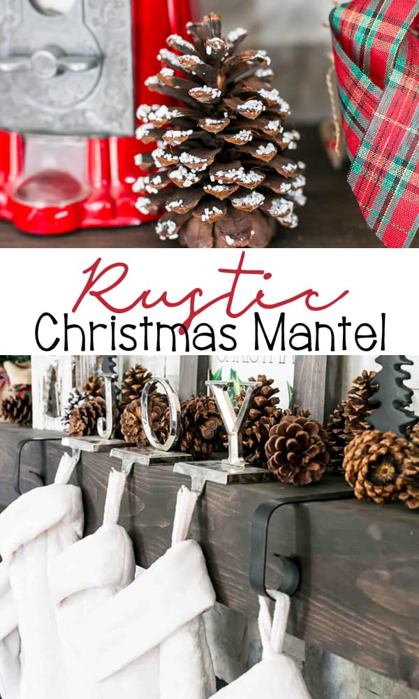 Rustic Christmas Mantel with pinecones, white furry stockings, and snowy branches. Learn how to make the snowy branches with scented brooms.