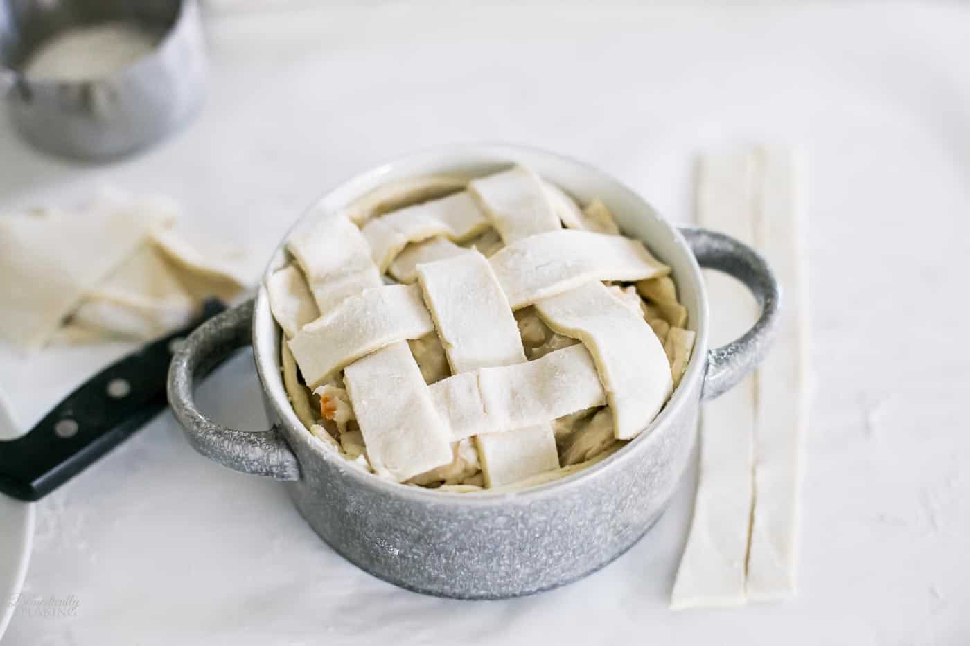 Puff pastry lattice topping on a homemade chicken pot pie.