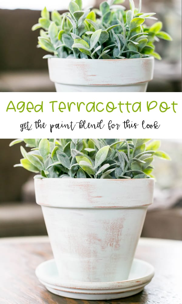 DIY Aged Terracotta Pot - learn this white wash paint formula