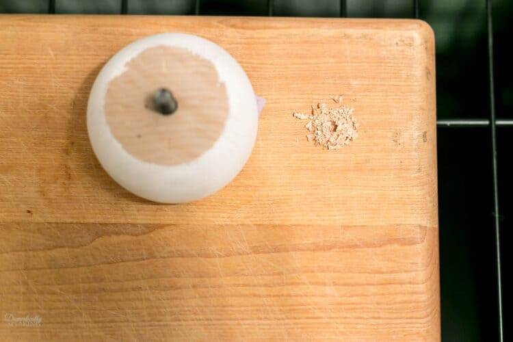 Drilling hole in wood.