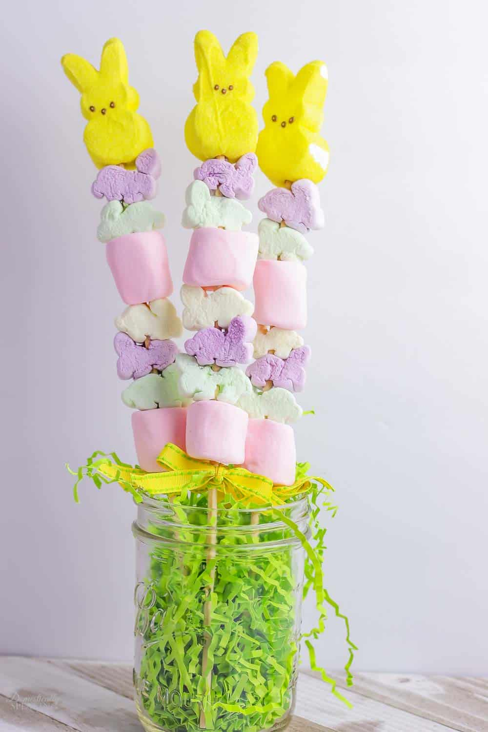 Easter Peeps Marshmallow Kabobs in a mason jar with faux grass