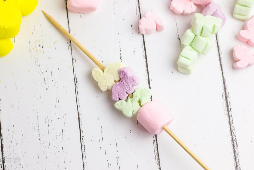 pink marshmallow and bunny marshmallows on a stick