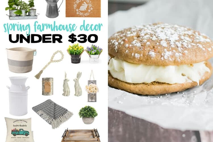 Spring Farmhouse Decor and Carrot Cake Whoopie PIes