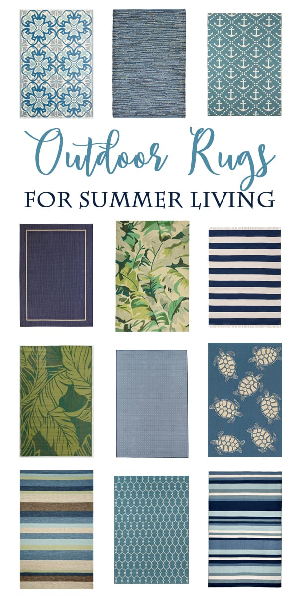 Over 20 gorgeous Outdoor Rugs in beautiful blue and green tones.