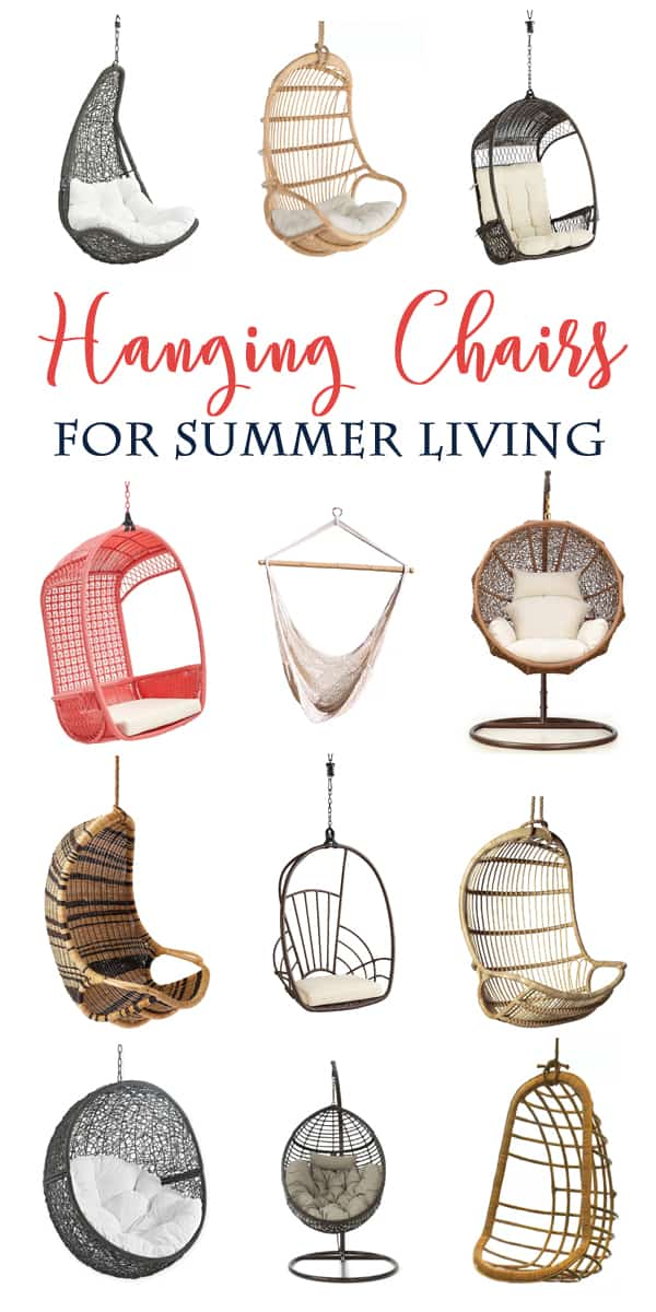 Some of the cutest Hanging Chairs! Give your outdoor spaces a fun update with these chairs everyone will want a turn in.