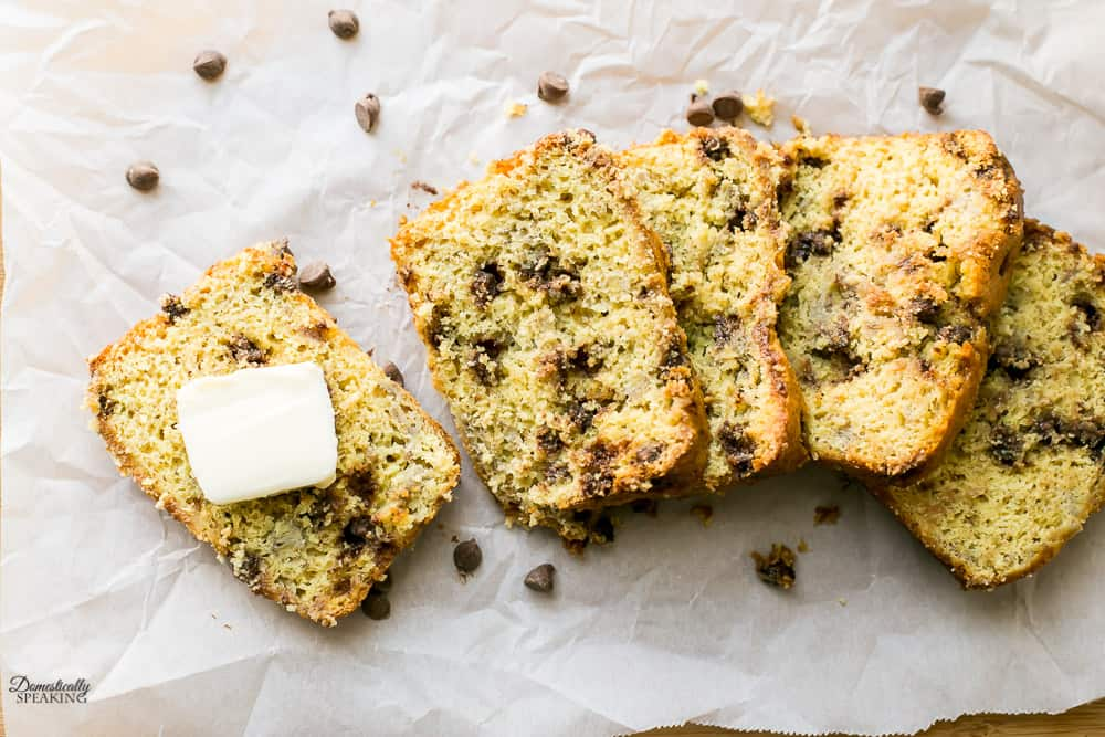 Easy to Make Cake Mix Chocolate Chip Banana Bread slathered with butter