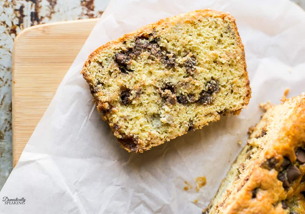 Cake Mix Chocolate Chip Banana Bread - super easy with only 4 ingredients!