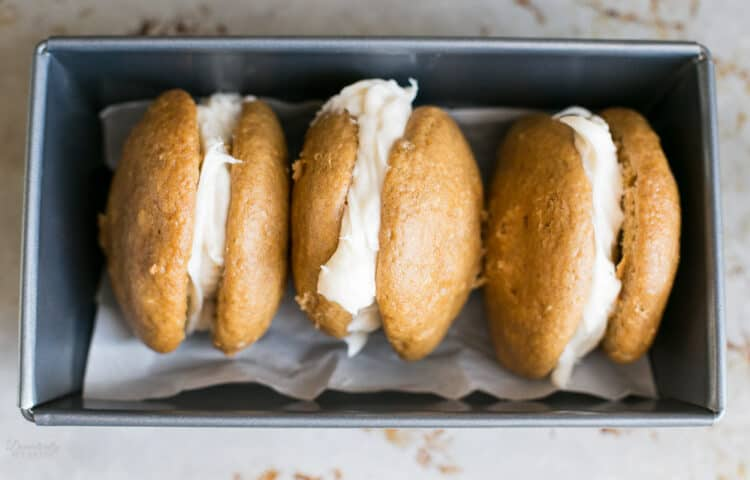 Cake Mix Pumpkin Whoopie Pies with Cinnamon Cream Cheese Filling