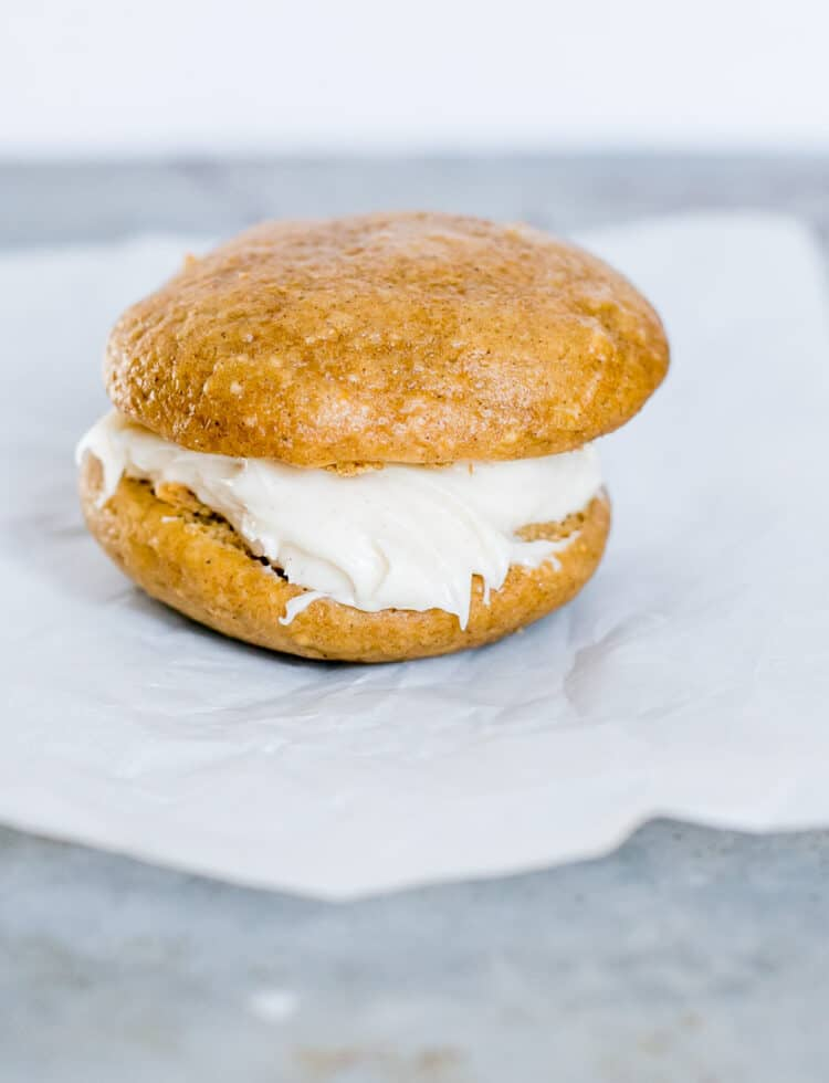 Pumpkin Spice Whoopie PIe with Cinnamon Cream Cheese filling made with a cake mix.