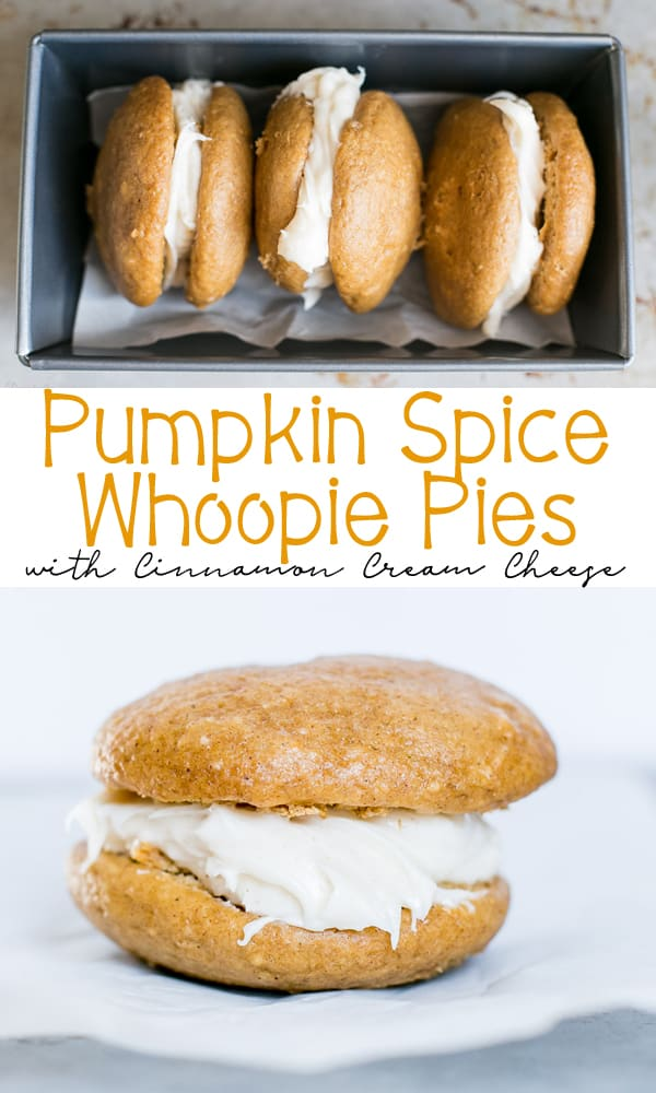 Pumpkin Spice Whoopie Pies with Cream Cheese Filling that are SUPER easy to make using a cake mix. This is the ultimate fall treat!
