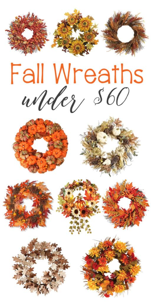 Fall Wreaths you'll love, all under $60! Beautiful fall leaves, wheat, pumpkins and more!