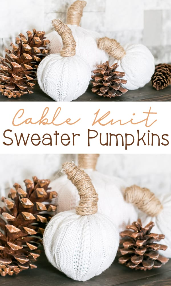 Thrift Store Cable Knit Sweater Pumpkins
