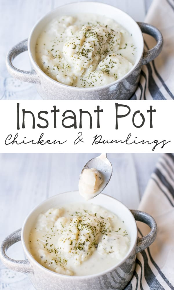 30 Minute Instant Pot Chicken and Dumplings! These are so creamy and hearty - the perfect comfort food!