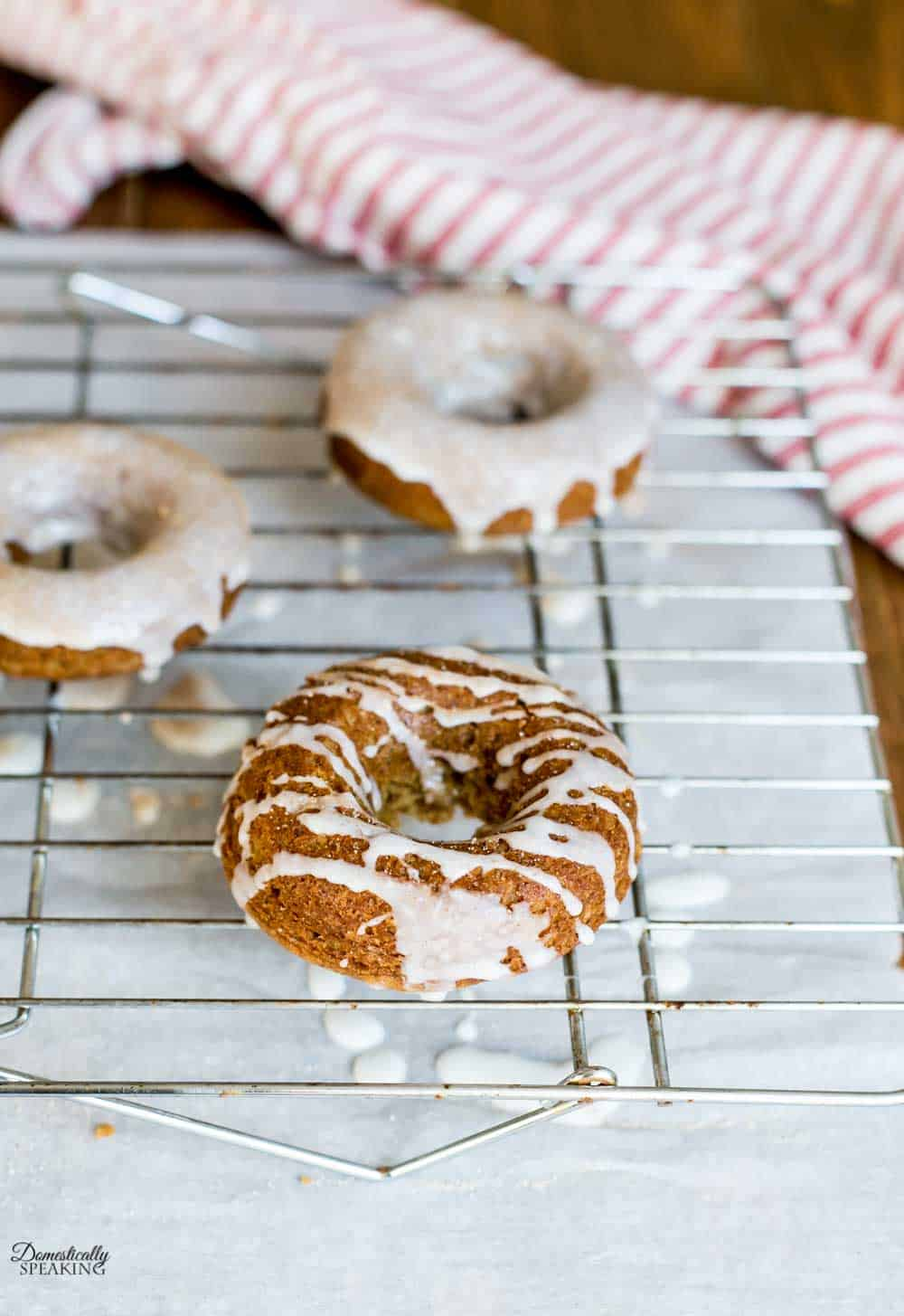 Gingerbread donuts drizzled and dunked then sprinkled with cinnamon sugar.