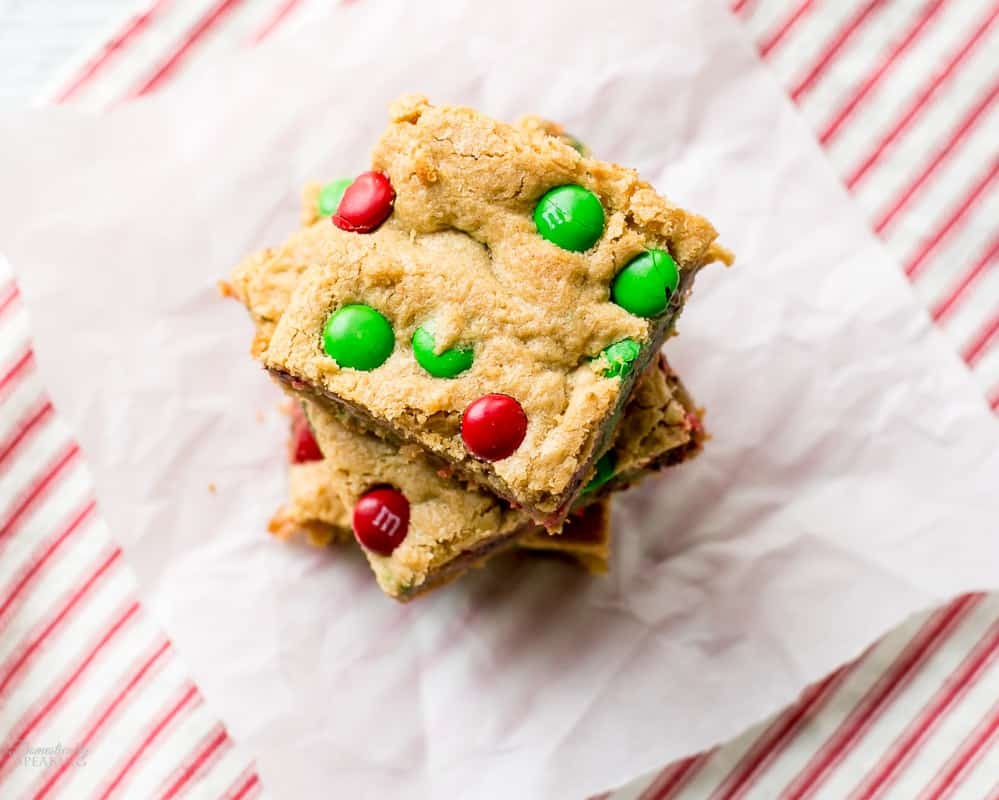 Holiday M&M's Peanut Butter Bar Cookies