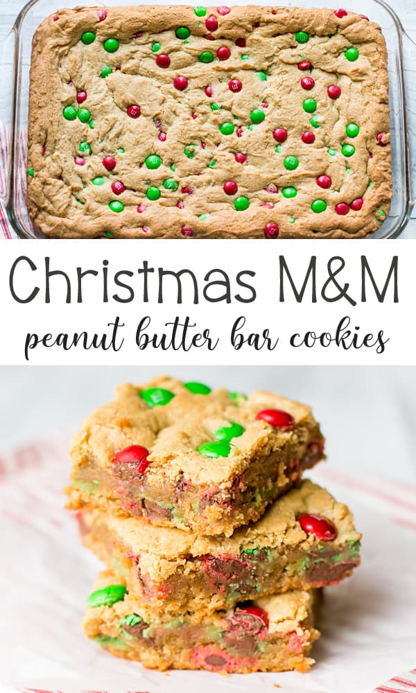 Christmas M&M Peanut Butter Bar Cookies is a fun and festive bar cookie for the holidays. It's loaded with peanut butter and great chocolate M&M's.
