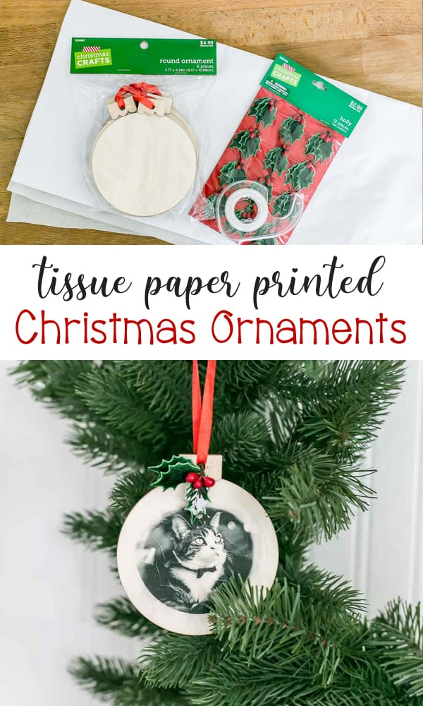 DIY Tissue Paper Printed Christmas Ornaments - the perfect craft gift idea that's sweet and sentimental.