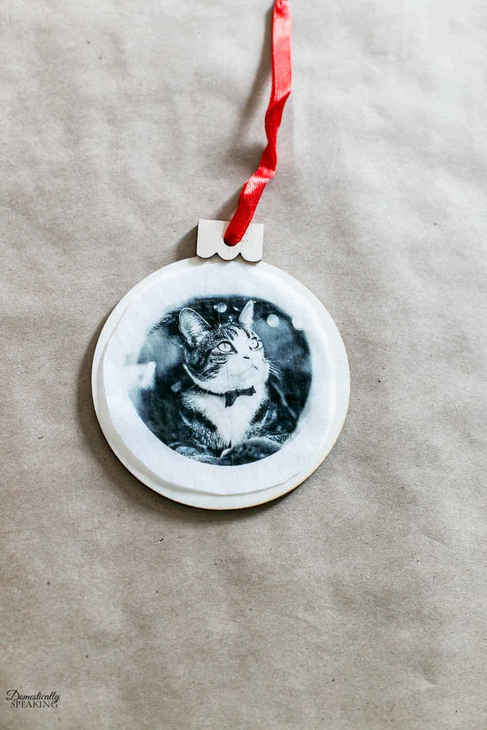 Photo tissue paper on top of ornaments.