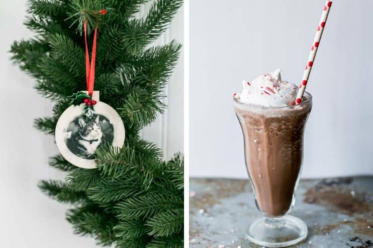 Printed Tissue Paper Ornament and Peppermint Frozen Hot Chocolate