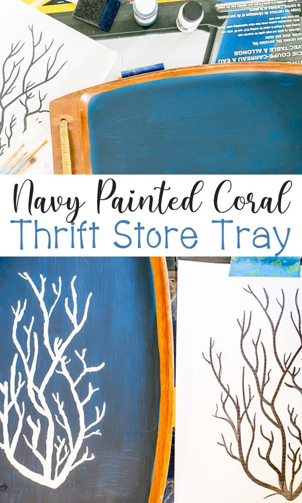 Navy Thrift Store Tray painted with Coral