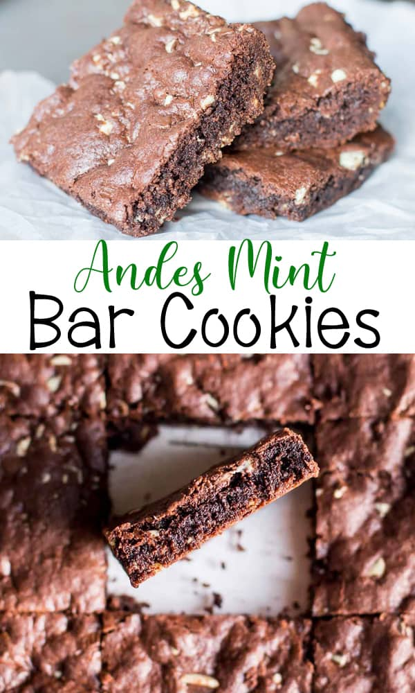 Andes Mint Bar Cookies using a cake mix - perfect mint and chocolate combo in an easy recipe!