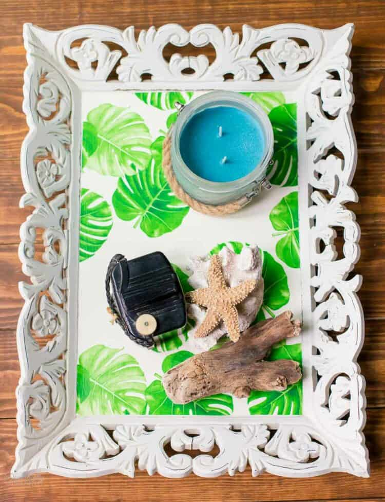 Cute Tropical Tray using wallpaper on a thrift store tray.