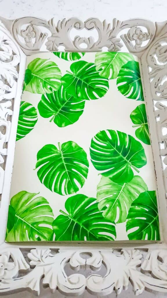 Cut out tropical wrapping paper for the base of the tray.